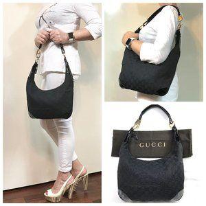 Auc Gucci GG Canvas/Patent Leather Shoulder Bag